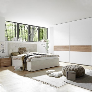 Camera completa Alpaca bianco con inserto noce stelvio