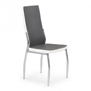 Sedia in ecopelle Emma grigio bianco