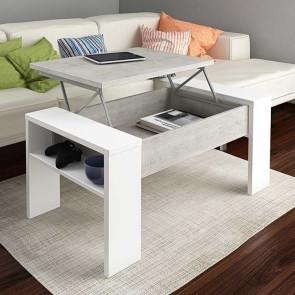 Tavolino Emmet bianco cemento con rialzo contenitore