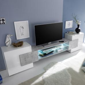 Porta TV moderno Incastro bianco lucido beton
