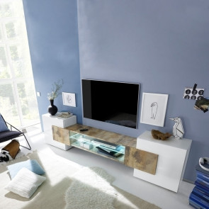 Porta TV moderno Incastro bianco lucido pero