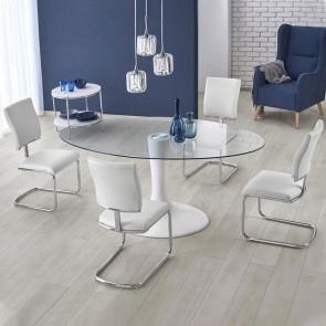 Tavolo tondo Titano vetro bianco