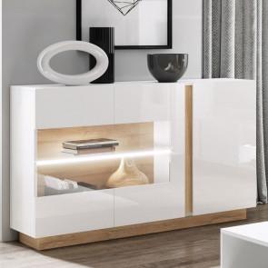 Credenza 3 ante con vetro soggiorno Noa Gihome ® bianco