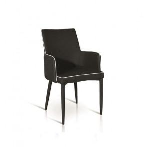 Sedia con braccioli Scarlett Gihome ® tessuto nero profilo bianco