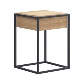 Tavolino Erice rovere metallo 40