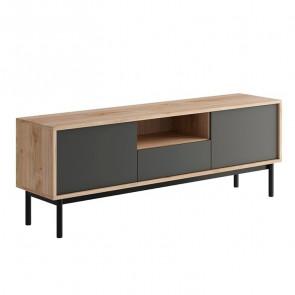 Porta tv Avola 2 ante 1 cassetto 1 vano a giorno legno grafite