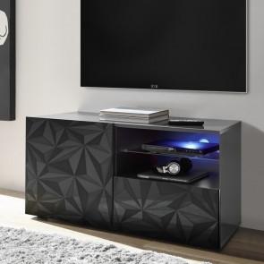 Base TV 1 anta 1 cassetto Prisma grigia con serigrafia