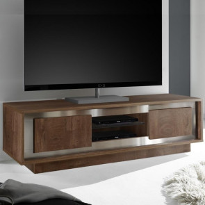 Porta TV Sky Cognac con bordi in acciaio
