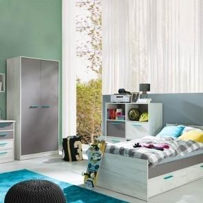 Cameretta Maya blu con letto + armadio