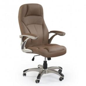 Sedia da ufficio in ecopelle Jaguar marrone classica ottone