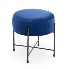Pouf Oregon tessuto blu design moderno industrial