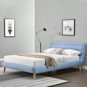Letto 160 Pompei tessuto azzurro moderno