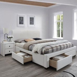 Letto 160 Mestre Gihome ® ecopelle bianco moderno