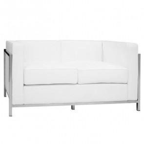 Divano LC 2 posti pelle bianco design