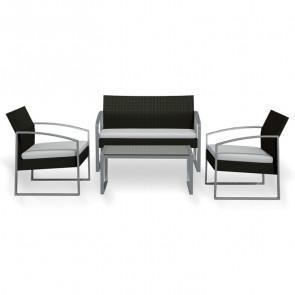 Set giardino Luca 2 poltrone, divano e tavolino nero