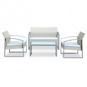 Set giardino Luca 2 poltrone, divano e tavolino bianco