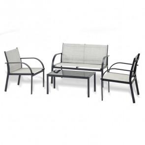 Set giardino Neiva 2 poltrone, divano e tavolino nero