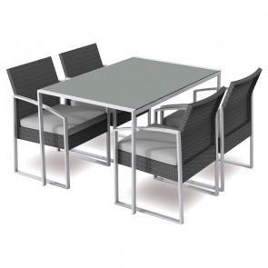 Set tavolo + 4 sedie esterno giardino Malvin nero