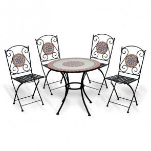 Set tavolo + 4 sedie pieghevoli esterno giardino salvaspazio Sissy