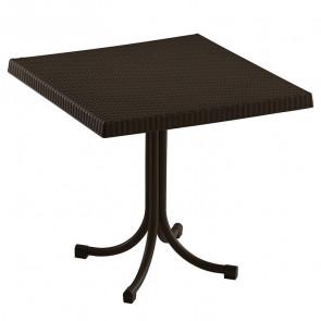 Tavolo bar Ivo poly rattan marrone scuro gamba centrale 80 x 80