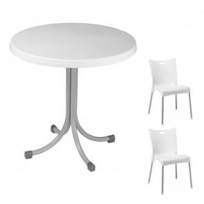 Set tavolo Elvio bianco + 2 sedie Melita bianco