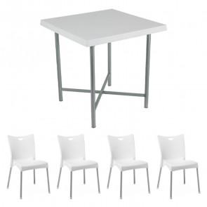 Set tavolo Alvaro bianco + 4 sedie Melita bianco