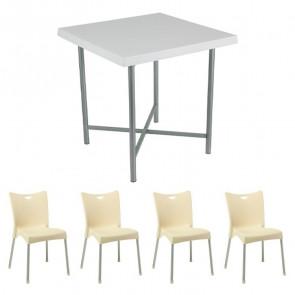 Set tavolo Alvaro bianco + 4 sedie Melita beige