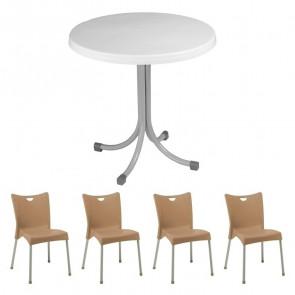 Set tavolo Elvio bianco + 4 sedie Melita tortora