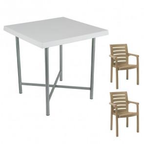Set tavolo Alvaro bianco + 2 sedie Lido tortora bar terrazzo