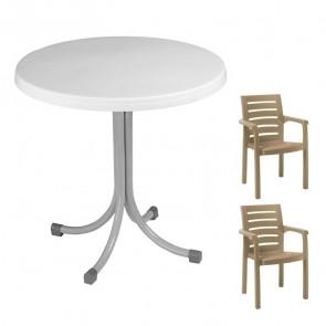 Set tavolo Elvio bianco + 2 sedie Lido tortora bar terrazzo