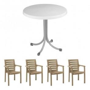 Set tavolo Elvio bianco + 4 sedie Lido tortora bar terrazzo