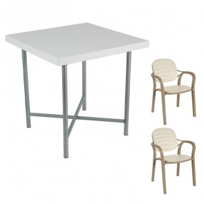 Set tavolo Alvaro bianco + 2 sedie Siesta tortora/beige bar terrazzo