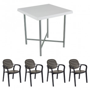 Set tavolo Alvaro bianco + 4 sedie Siesta antracite bar terrazzo