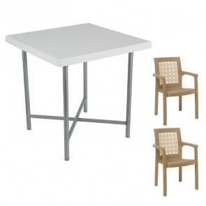 Set tavolo Alvaro + 2 sedie Ventura tortora bar giardino