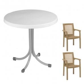 Set tavolo Elvio + 2 sedie Ventura tortora bar giardino