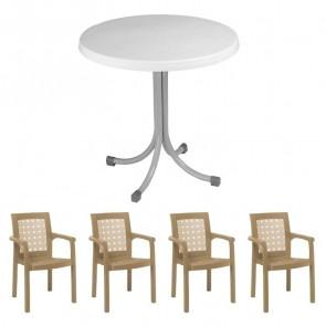 Set tavolo Elvio + 4 sedie Ventura tortora bar giardino