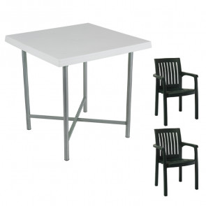 Set tavolo Alvaro + 2 sedie Orlanda verde scuro bar giardino