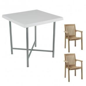 Set tavolo Alvaro + 2 sedie Orlanda tortora bar giardino