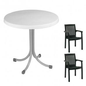 Set tavolo Elvio + 2 sedie Orlanda verde scuro bar giardino