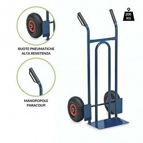Carrello portapacchi L200 ruote pneumatiche 200 kg acciaio