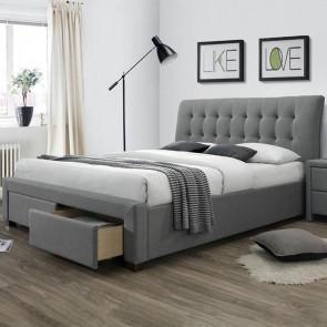 Letto Anita 160 tessuto grigio moderno con cassettoni