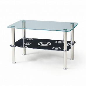 Tavolino Richard salotto in vetro trasparente acciaio nero fantasia