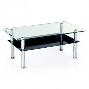 Tavolino Urian salotto in vetro trasparente acciaio nero