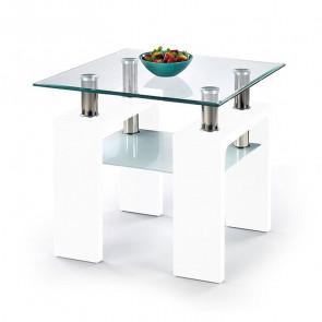Tavolino quadrato Herman bianco vetro acciaio con ripiano salotto