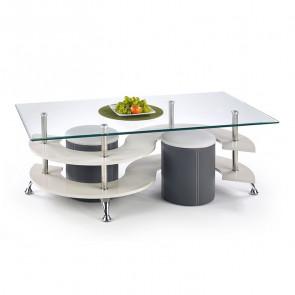 Tavolino Nicolas bianco acciaio vetro trasparente con 2 pouf grigi moderno design