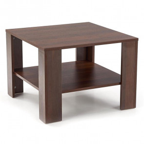 Tavolino quadrato Bridget noce scuro con ripiano salotto