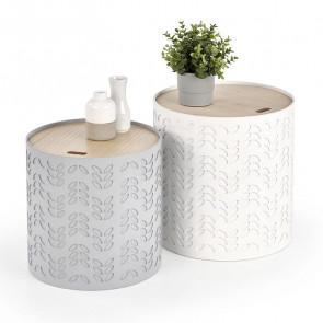 Set tavolino Ennis rotondo bianco grigio rovere chiaro portaoggetti moderno design