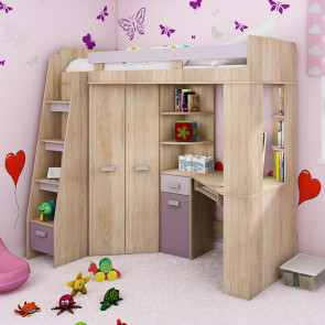 Cameretta Dollie Gihome ® sinistra rovere rosa