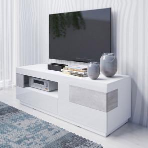 Porta tv Bahama 2 cassetti vano a giorno bianco lucido cemento
