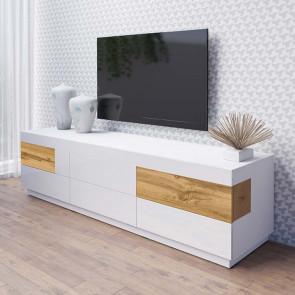 Porta Tv Bahama 6 cassetti bianco lucido rovere